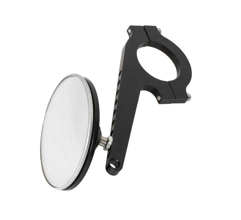 Joes Racing Products 11222 Mirror, Side View, Extended, Adjustable 1/2 in to 3-1/2 in, Round, 3 in Diameter, Clamp-On, 1-1/2 in Tube, Aluminum, Black Anodize, Each