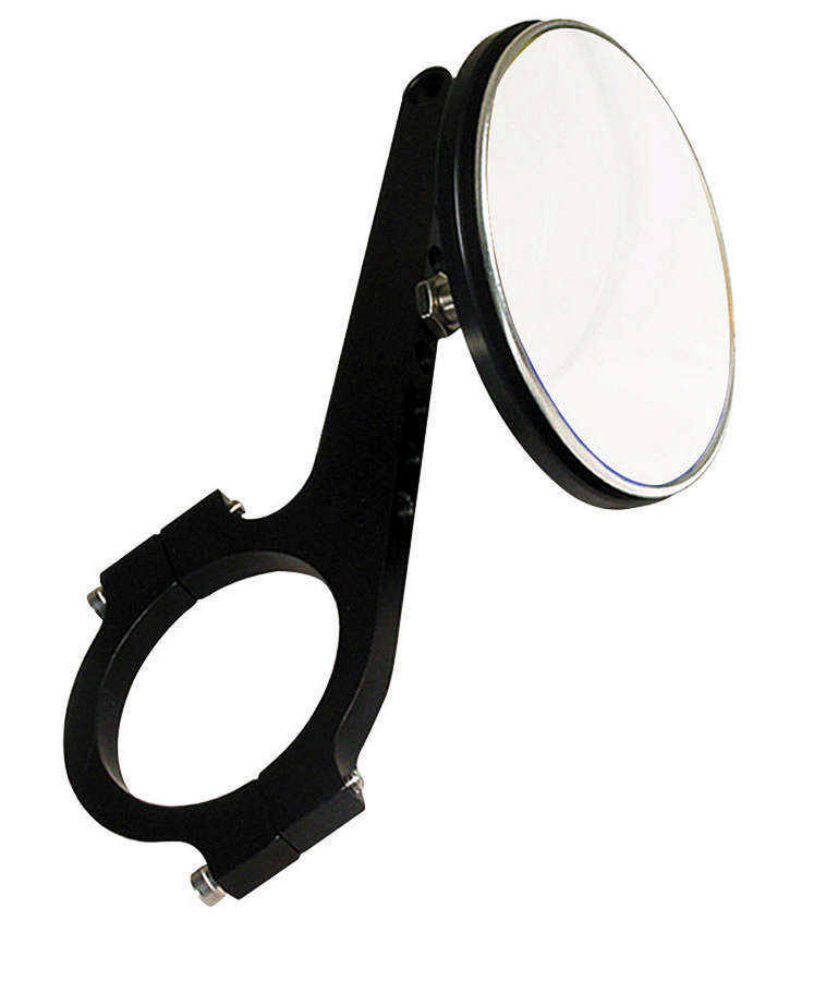 Joes Racing Products 11224 Mirror, Side View, Extended, Adjustable 1/2 in to 3-1/2 in, Round, 3 in Diameter, Clamp-On, 1-3/4 in Tube, Aluminum, Black Anodize, Each