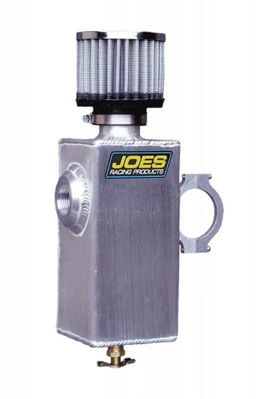 Joes Racing Products 12402 Breather Tank, 3 in Diameter, 6-1/2 in Tall, 3/8 in NPT Female Inlet, Petcock Drain, 1-1/2 in Mounting Clamp, Breather Included, Aluminum, Natural, Each