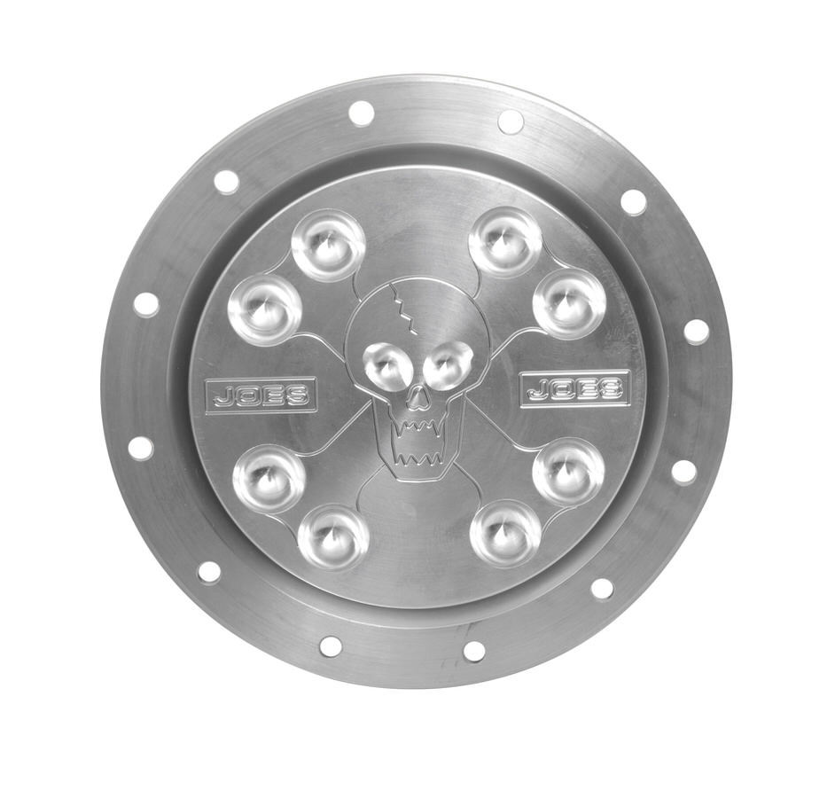 Joes Racing Products 13201 Fuel Filler Cap Assembly, Screw-On Cap, Flush Remote Mount, 12-Bolt Flange, 2-1/4 in Hose Barb, Scull/Bones Pattern, Aluminum, Natural, Each