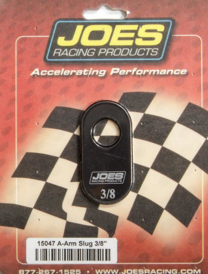 Joes Racing Products 15047 Control Arm Caster Slug, 1/2 in ID Hole, 3/8 Offset, Aluminum, Black Anodized, Joes Slotted Upper Control Arms, Each