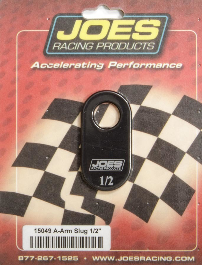 Joes Racing Products 15049 Control Arm Caster Slug, 1/2 in ID Hole, 1/2 Offset, Aluminum, Black Anodized, Joes Slotted Upper Control Arms, Each