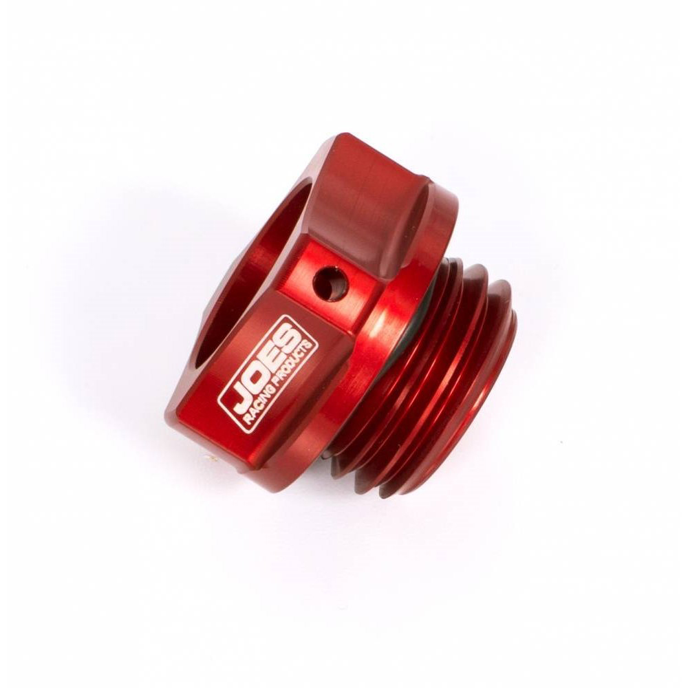 Joes Racing Products 25860 Oil Fill Cap, Screw-On, Round, Notched Grip, Safety Wire Drilled, Aluminum, Red Anodized, Yamaha R6, Micro Sprint, Each