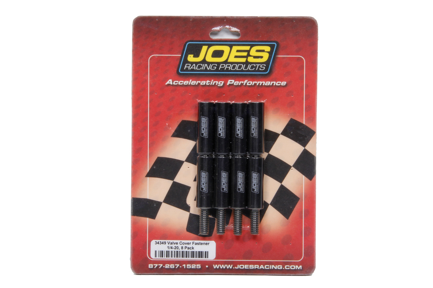 Joes Racing Products 34349 Valve Cover Fastener, Stud, 1/4-20 in Thread, 1.500 in Long, Nuts Included, Aluminum, Black Anodized, Set of 8
