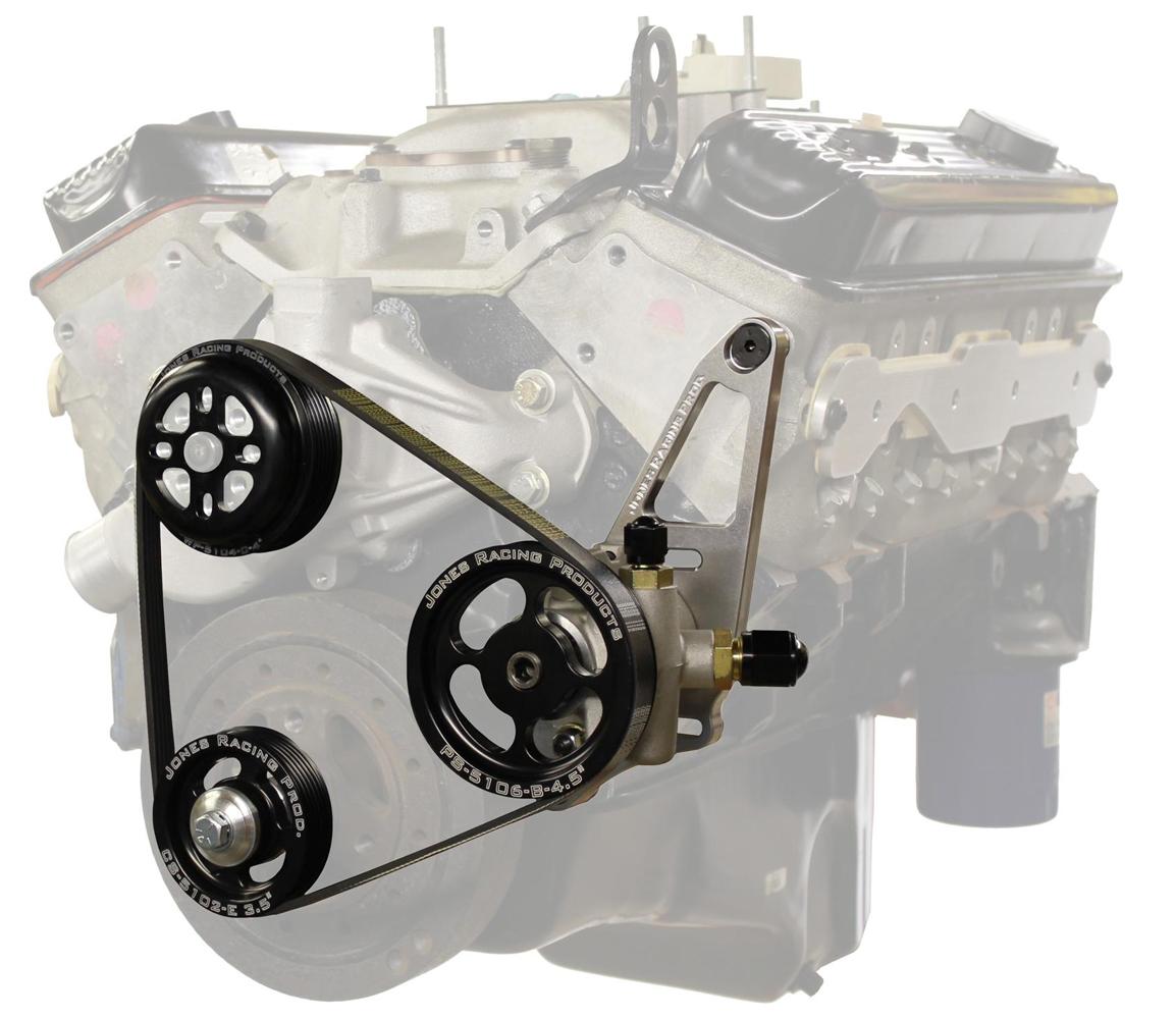 Jones Racing Products 1004-AL-CE Pulley Kit, 5 Rib Serpentine, Aluminum, Black Anodized, Small Block Chevy, Kit