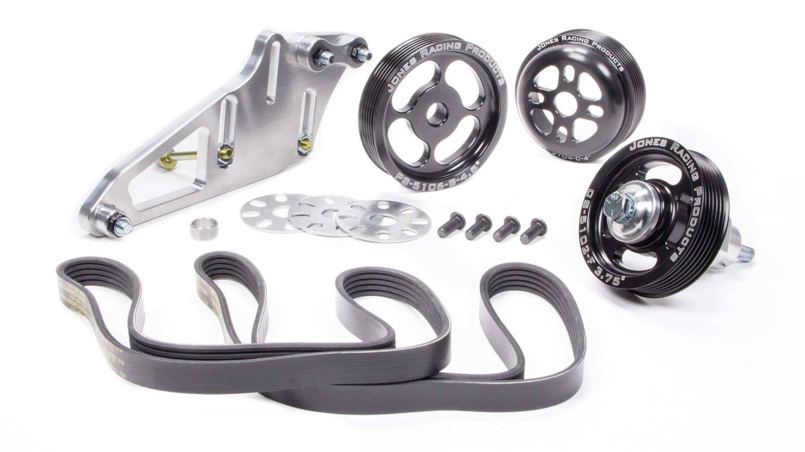 Jones Racing Products 1004-S-CE Pulley Kit, 6 Rib Serpentine, Aluminum, Black Anodize, Small Block Chevy, Kit