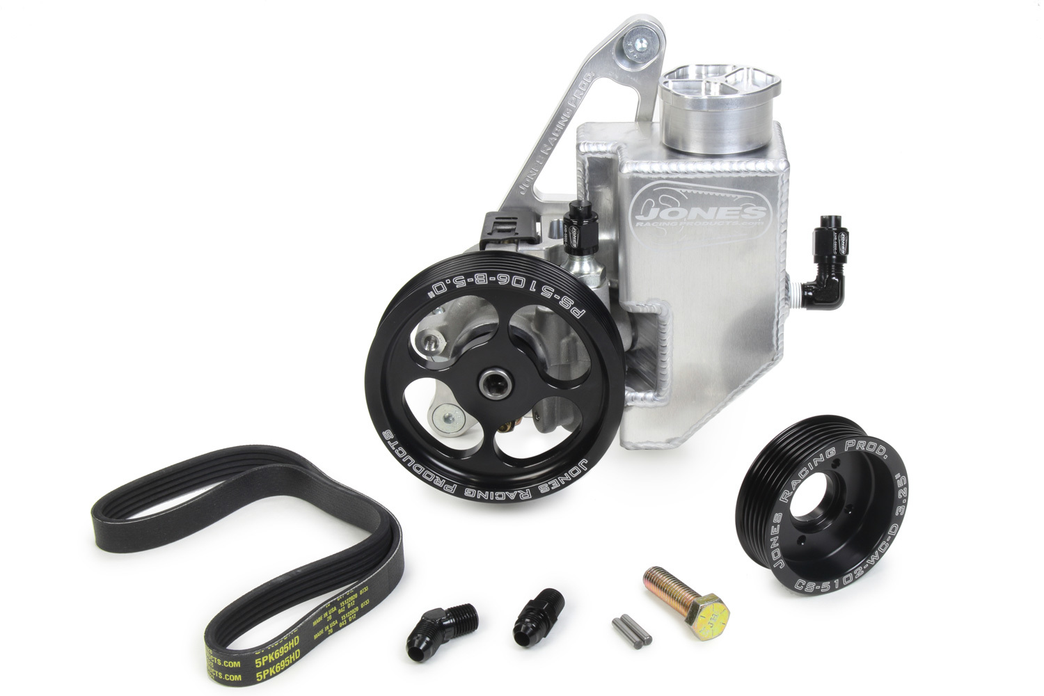 Jones Racing 1020-PS Pulley Kit, 6 Rip Serpentine, Aluminum, Black Anodized / Natural, Chevy V8, Kit