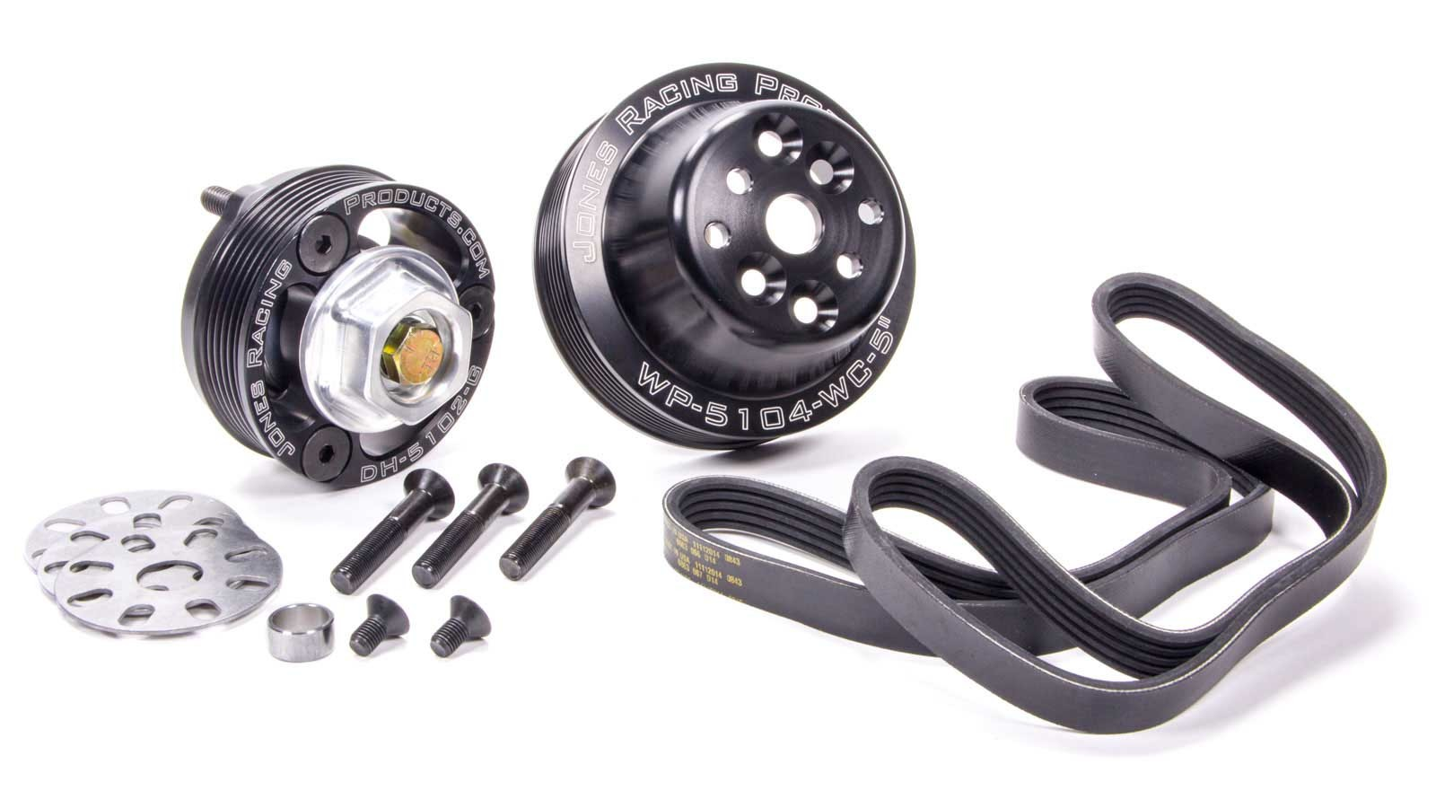 Jones Racing Products 1020-S Pulley Kit, 5 Rib Serpentine, Aluminum, Black Anodize, Chevy V8, Kit