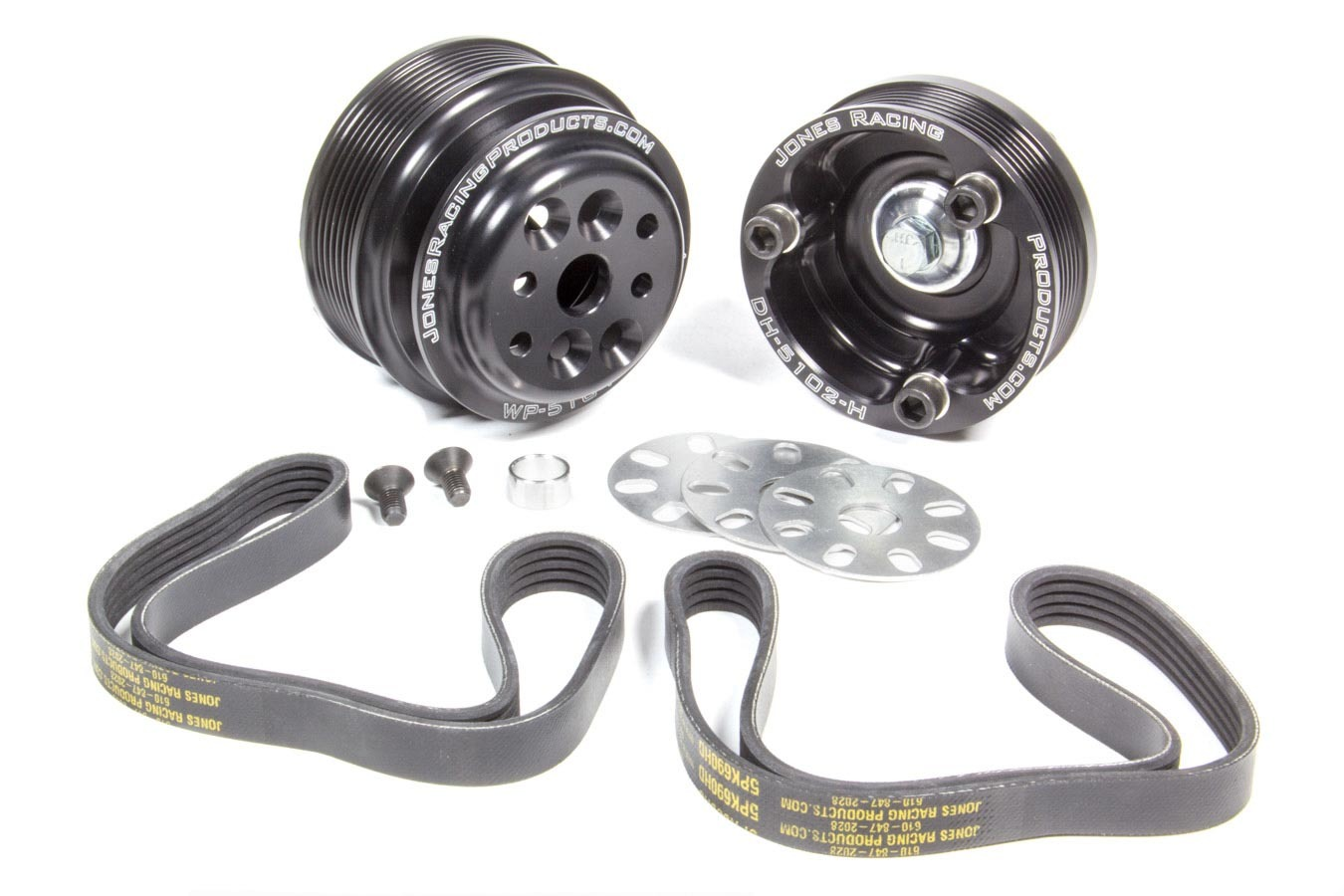 Jones Racing Products 1035-S Pulley Kit, 6 Rib Serpentine, Aluminum, Black Anodize, Small Block Chevy, Kit