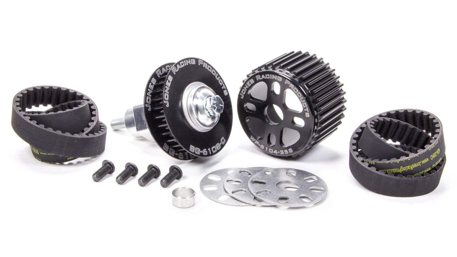 Jones Racing Products 2010-RA-11 Pulley Kit, HTD, Aluminum, Black Anodize, Small Block Chevy, Kit