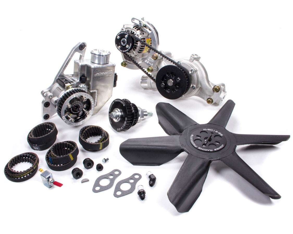 Jones Racing Products 2441-AR-CE Pulley Kit, HTD, Aluminum, Black Anodize, Small Block Chevy, Kit