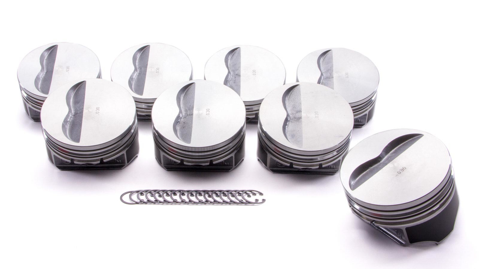 KB Performance Pistons 9907HC.030 Piston, Claimer Series, Hypereutectic, 4.155 in Bore, 5/64 x 5/64 x 3/16 in Ring Grooves, Minus 5.0 cc, Small Block Chevy, Set of 8