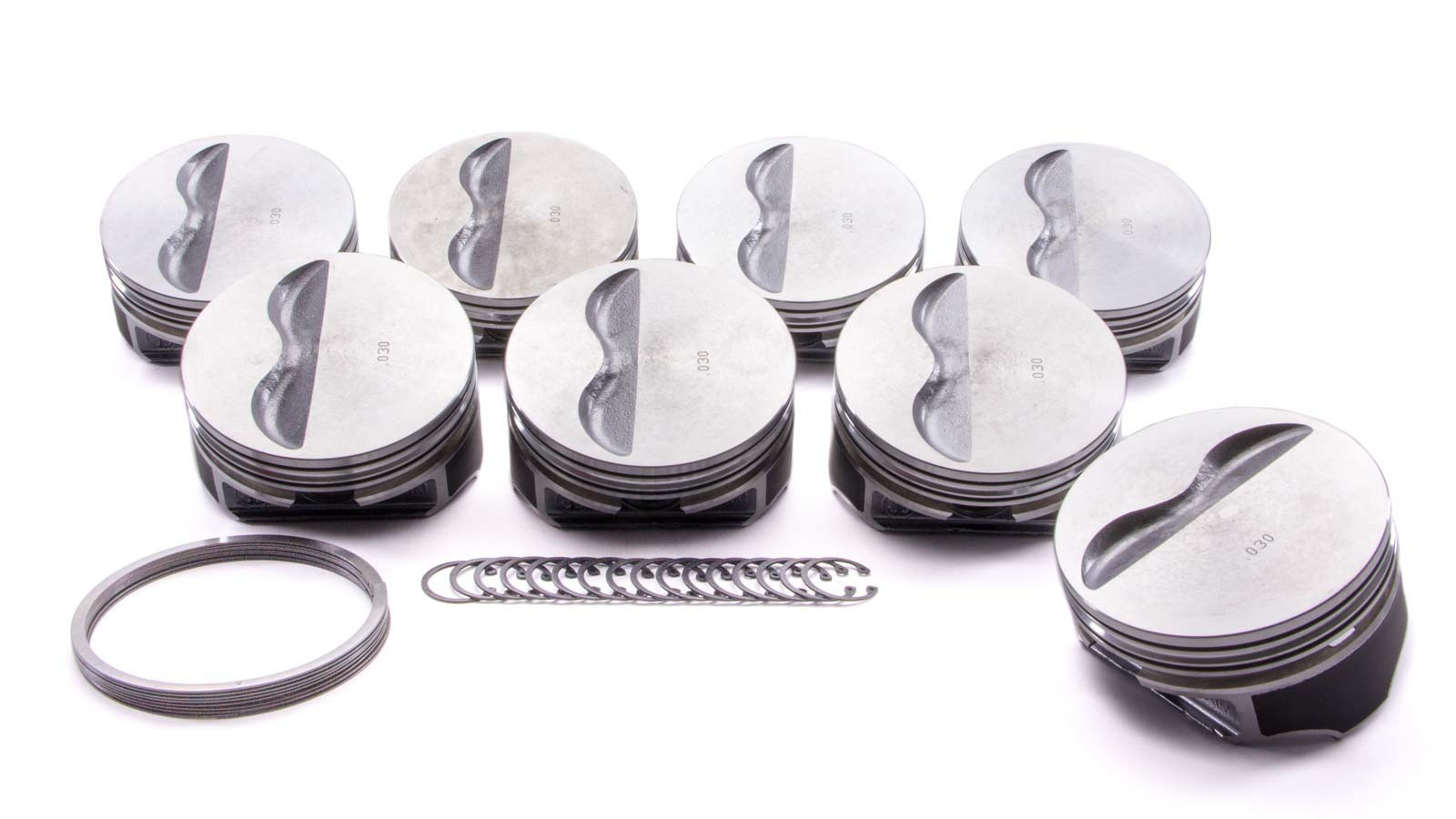 KB Performance Pistons 9908HC.030 Piston, Claimer Series, Hypereutectic, 4.030 in Bore, 5/64 x 5/64 x 3/16 in Ring Grooves, Minus 5.0 cc, Small Block Chevy, Set of 8