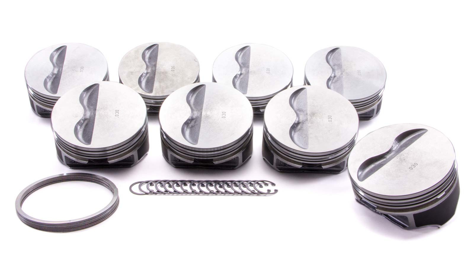 KB Performance Pistons 9909HC.030 Piston, Claimer Series, Hypereutectic, 4.030 in Bore, 1/16 x 1/16 x 3/16 in Ring Grooves, Minus 5.0 cc, Small Block Chevy, Set of 8