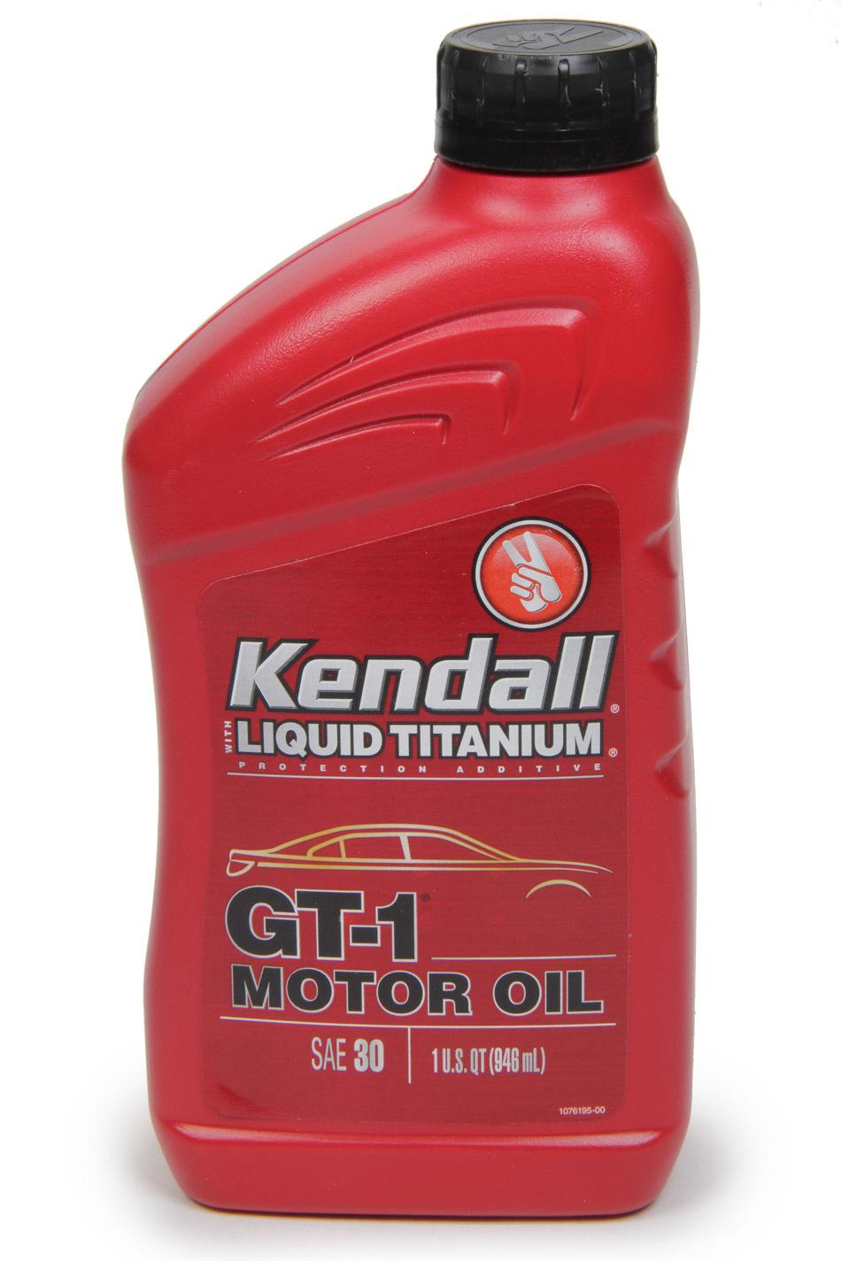 Kendall Oil 1074971 Motor Oil, GT-1 High Performance, 30W, Semi-Synthetic, 1 qt Bottle, Each