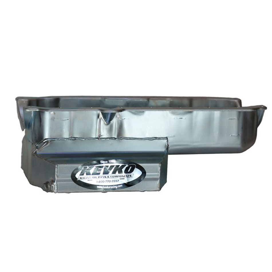Kevko Oil Pans 1092RR Engine Oil Pan, Road Race, Rear Sump, 7 qt, 7 in Deep, Louvered Windage Tray, Steel, Zinc Oxide, Small Block Chevy, Each