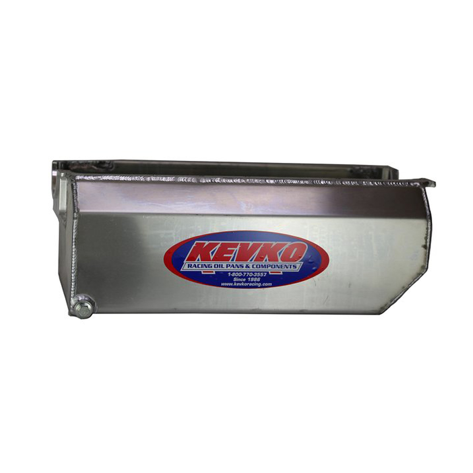Kevko Oil Pans 1097A Engine Oil Pan, Box Style, Full Sump, 9 qt, 7-1/4 in Deep, Full Louvered Aluminum Windage Tray, Driver / Passenger Side Dipstick, Aluminum, Natural, Small Block Chevy, Kit