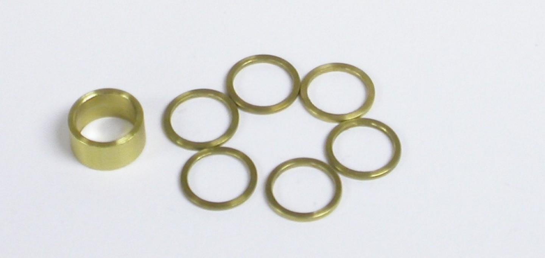 Kinsler 3034 Bypass Shim Kit, One 0.183 in Shim, Six 0.030 in Shims, Brass, Natural, Kinsler Hi-Speed Bypass, Kit