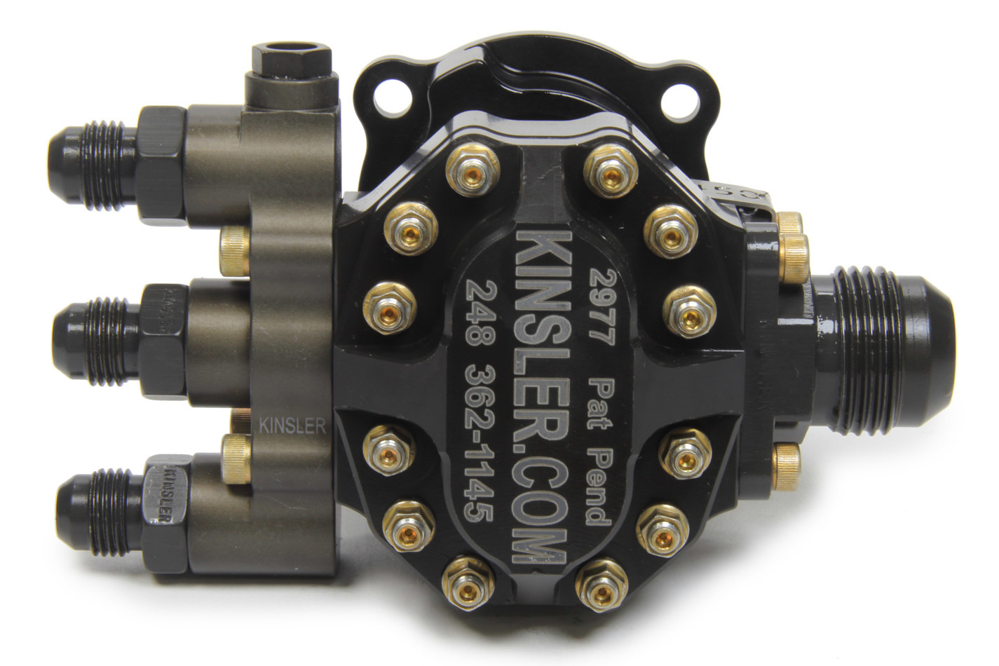 Kinsler TP045071 Fuel Pump, Tough Pump 450, Hex Driven, In-Line, 12 AN Male Inlet, Three 6 AN Male Outlets, Aluminum, Black Anodize, Alcohol / E85 / Gas, Each