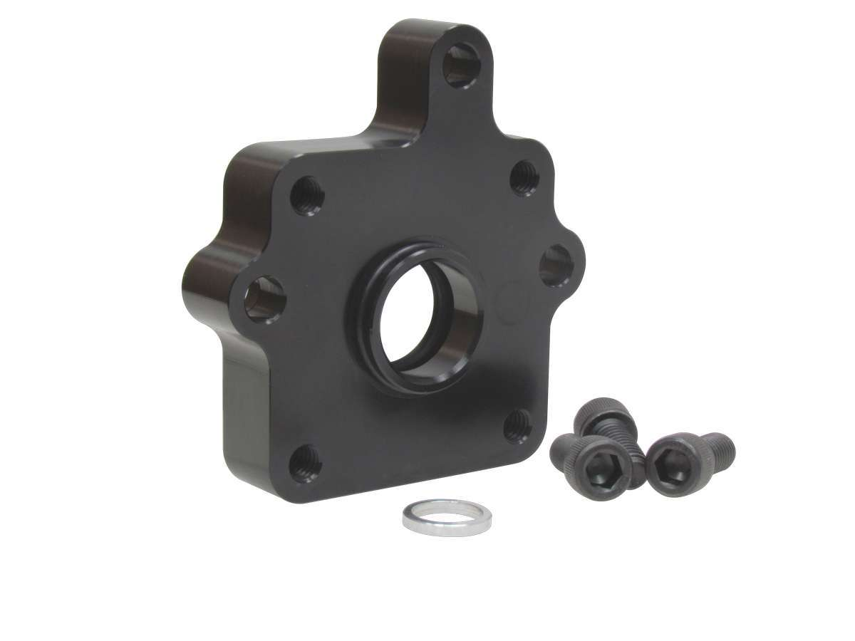 KRC Power Steering 19555300 Power Steering Adapter, Requires Spacer and Spud, Aluminum, Black Anodize, Stock Car Products Oil Pump to KRC Power Steering Pump, Kit