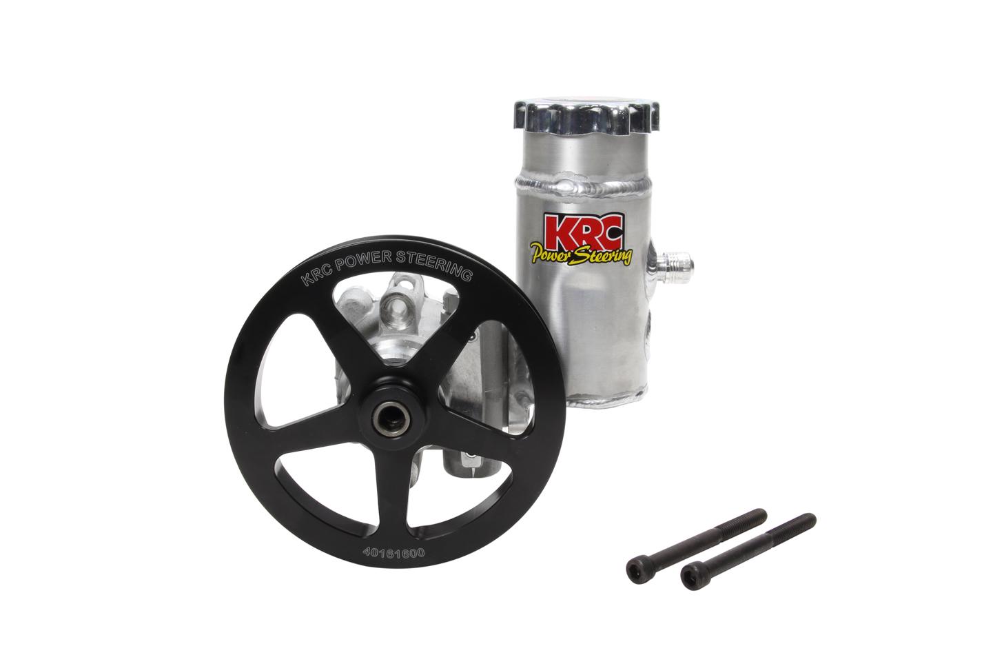 KRC Power Steering ESP19610100 Power Steering Pump, Elite, Adjustable psi, 6 in V-Belt Pulley / Bolt-On Tank Included, Aluminum, Natural, GM Type II, Universal, Each