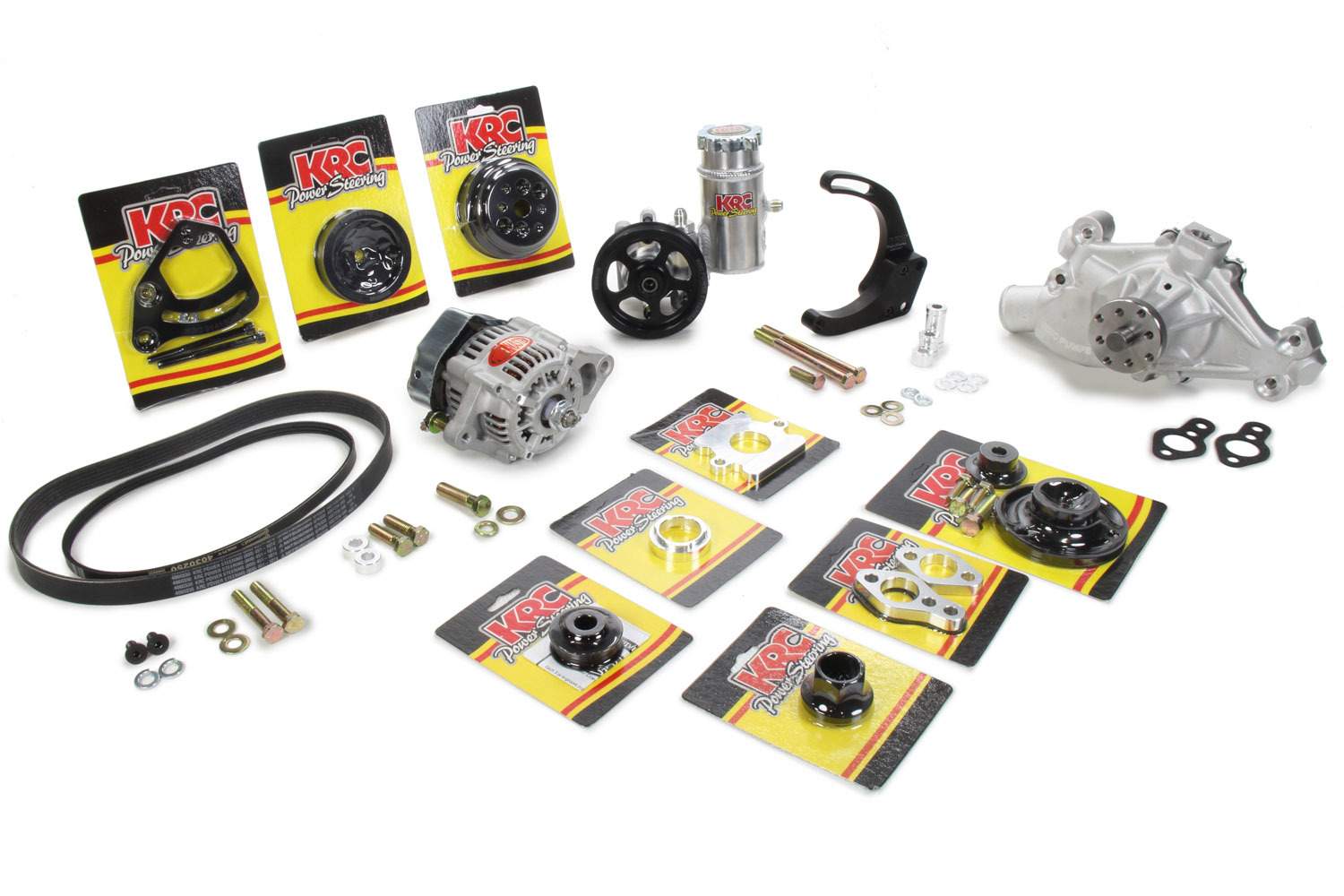 KRC Power Steering KIT16612122 Pulley Kit, Pro Series, 3 and 6 Rib Serpentine, Block Mount PS Pump / Denso Alternator / Hardware / PS Tank / Water Pump Included, Aluminum, Black Anodized, Small Block Chevy, Kit