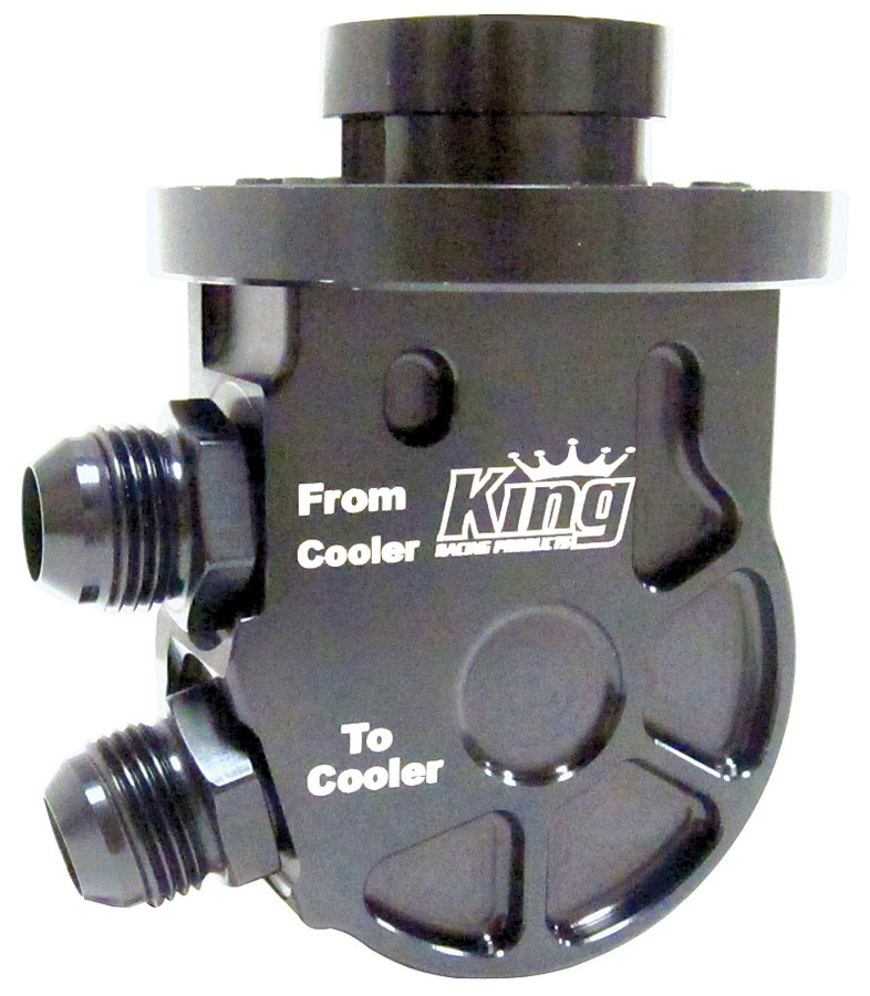 King Racing Products 2185 Oil Cooler Adapter, Low Profile, Sandwich, 3/8 in NPT Male Center Thread, 12 AN Male Inlet, 12 AN Male Outlet, Aluminum, Engine Oil Cooler, Kit