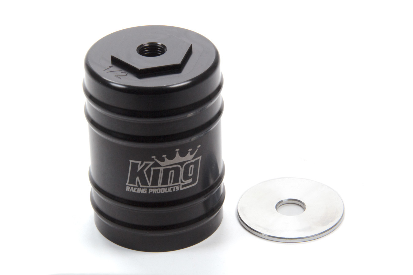 King Racing Products 2370 Bump Stop Cup, Adjustable, 1/2-20 Thread Shaft, Aluminum, Black Anodized, Small Body Shocks, Each