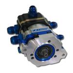 K.S.E. Racing KSC1065-002 Tandem Pump, TandemX, Hex Driven, 3/8 in Male Hex Drive, Billet Aluminum, Black / Clear Anodize, Gas / Alcohol, Each