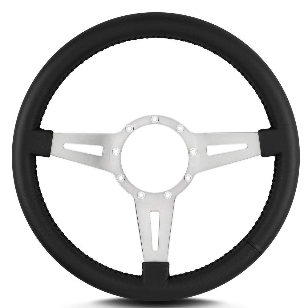 Lecarra Steering Wheels 43201 Steering Wheel, Mark 4 GT Elegante, 14 in Diameter, 3 Spoke, 1-1/4 in Dish, Aluminum / Leather, Polished / Black, Each