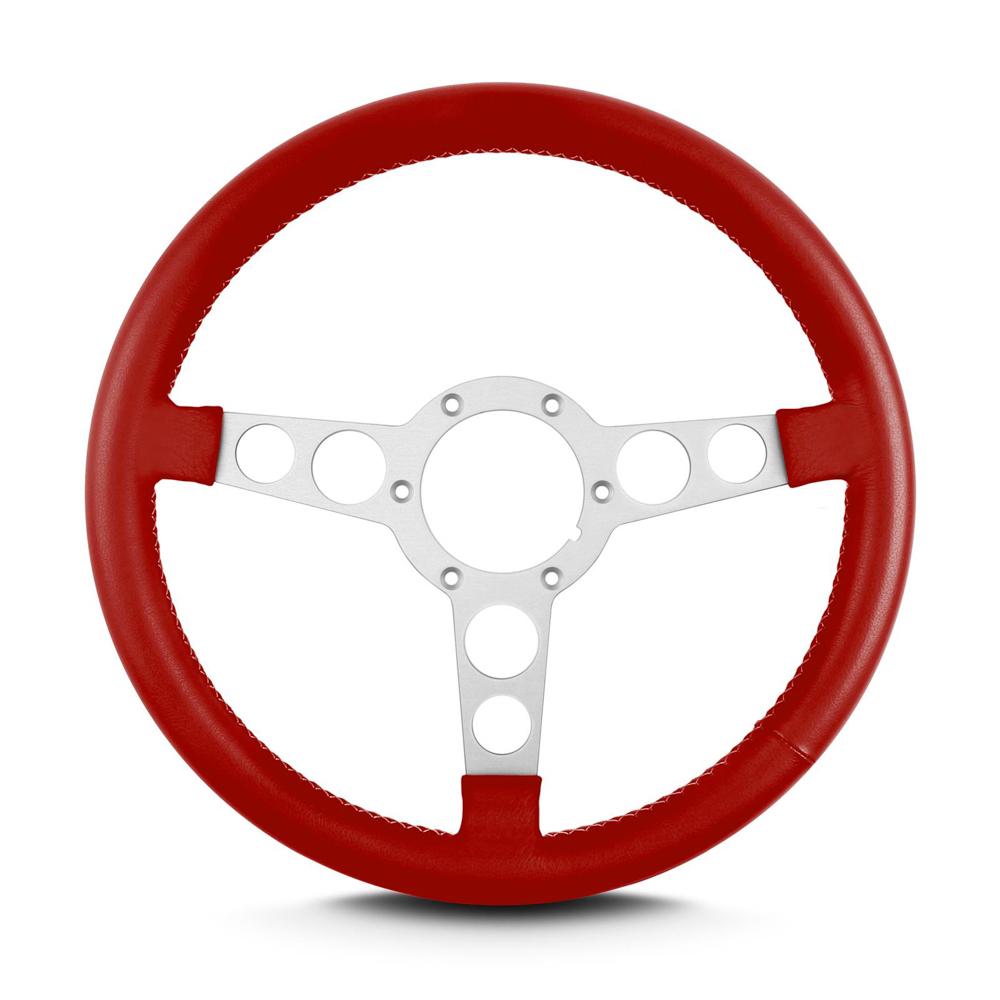 Lecarra 62312 Steering Wheel, Trans-Am, 14 in Diameter, 3 Spoke, Flat, Red Leather Grip, Aluminum, Clear Anodized, Each