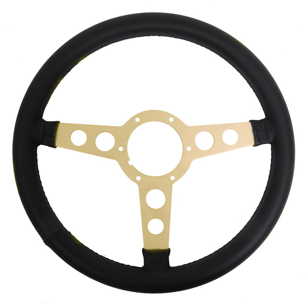 Lecarra Steering Wheels 62401 Steering Wheel, Formula, 14 in Diameter, 3 Spoke, Aluminum / Leather, Gold Anodized / Black, Each