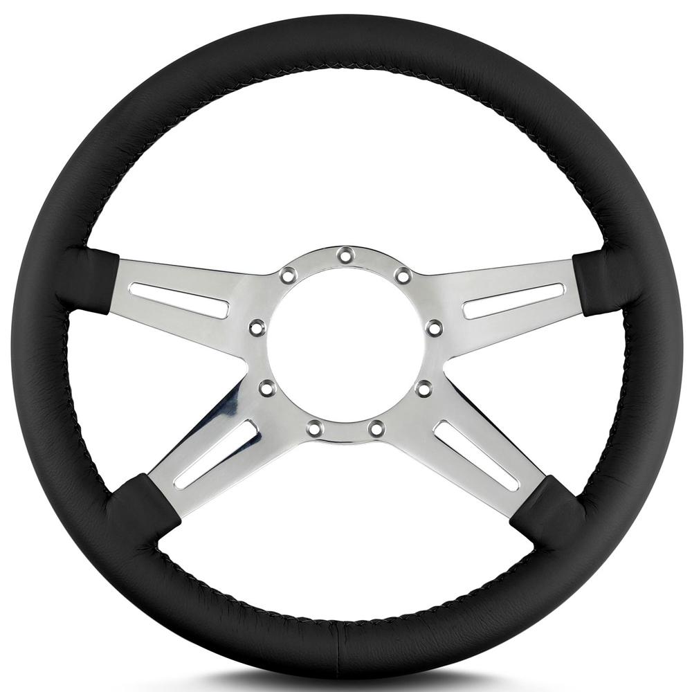 Lecarra Steering Wheels 93201 Steering Wheel, Mark 9 Elegante, 14 in Diameter, 4 Spoke, 1-1/4 in Dish, Aluminum / Leather, Polished / Black, Each