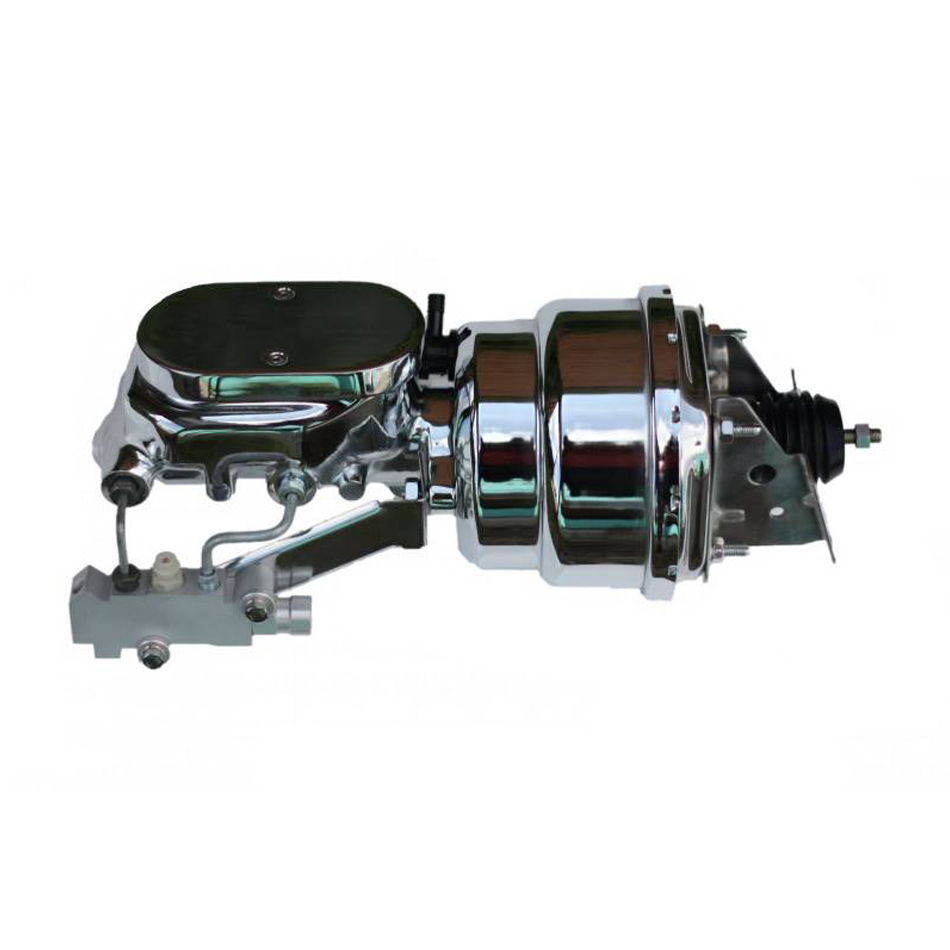 Leed Brakes 2L6B4 Master Cylinder and Booster, 1-1/8 in Bore, Dual Integral Reservoir, 7 in OD, Dual Diaphragm, Steel, Chrome, GM A-Body / F-Body, Kit