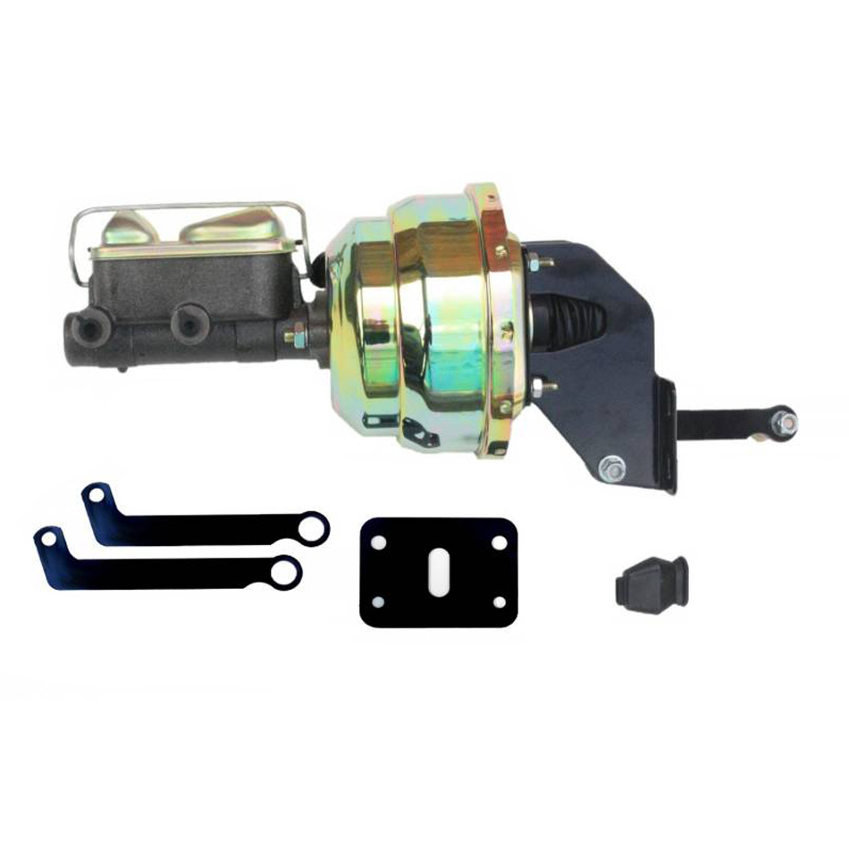 Leed Brakes A84 Master Cylinder and Booster, 1 in Bore, Dual Integral Reservoir, 8 in OD, Dual Diaphragm, Steel, Zinc Plated, Mopar A-Body / E-Body, Kit
