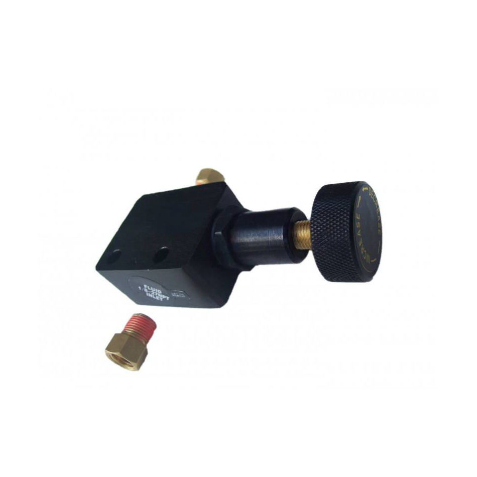Leed Brakes APV02 Proportioning Valve, 3/8-24 in Female Inlet, 3/8-24 in Female Outlet, Adjustable 100-3000 psi, Knob Type, Aluminum, Black Anodize, Kit