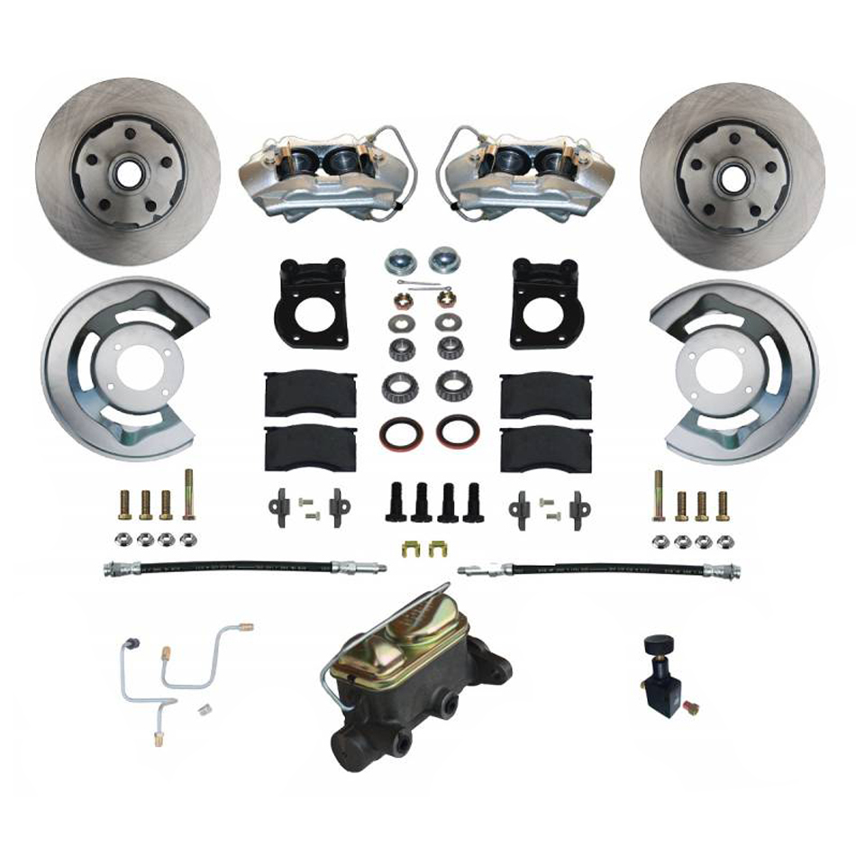 Leed Brakes FC0001-405 Brake System, Disc Conversion, Front, 4 Piston Caliper, 11.33 in Solid Rotors, Master Cylinder, Iron, Natural, Ford Mustang 1965-66, Kit