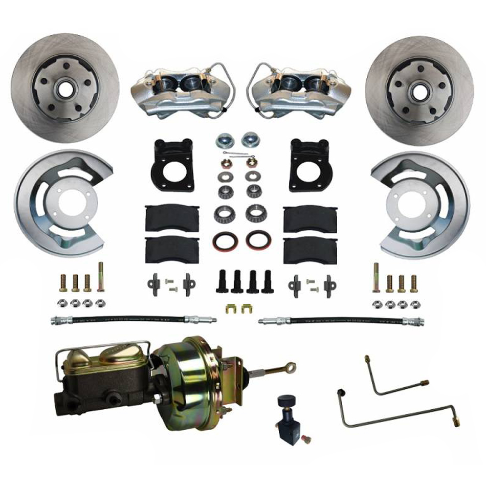 Leed Brakes FC0001-H405A Brake System, Power Disc Conversion, Front, 4 Piston Caliper, 11.33 in Solid Rotors, Booster / Master Cylinder, Iron, Natural, Ford Mustang 1965-66, Kit