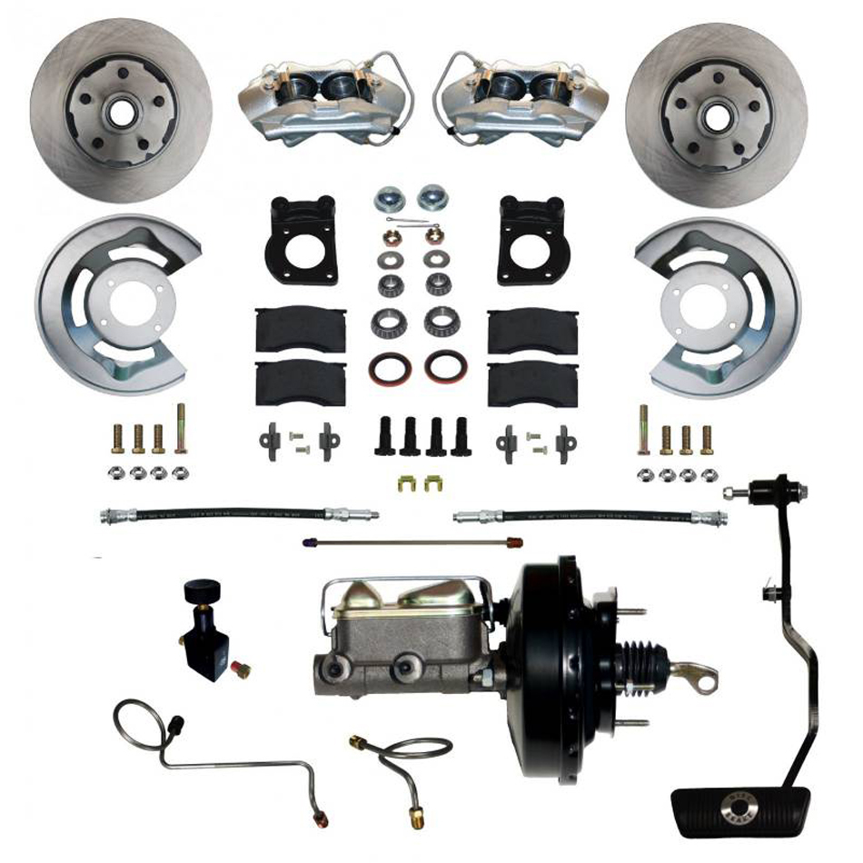 Leed Brakes FC0002-3405A Brake System, Power Disc Conversion, Front, 4 Piston Caliper, 11.33 in Solid Rotors, Booster / Master Cylinder, Iron, Natural, Ford Mustang 1967-69, Kit