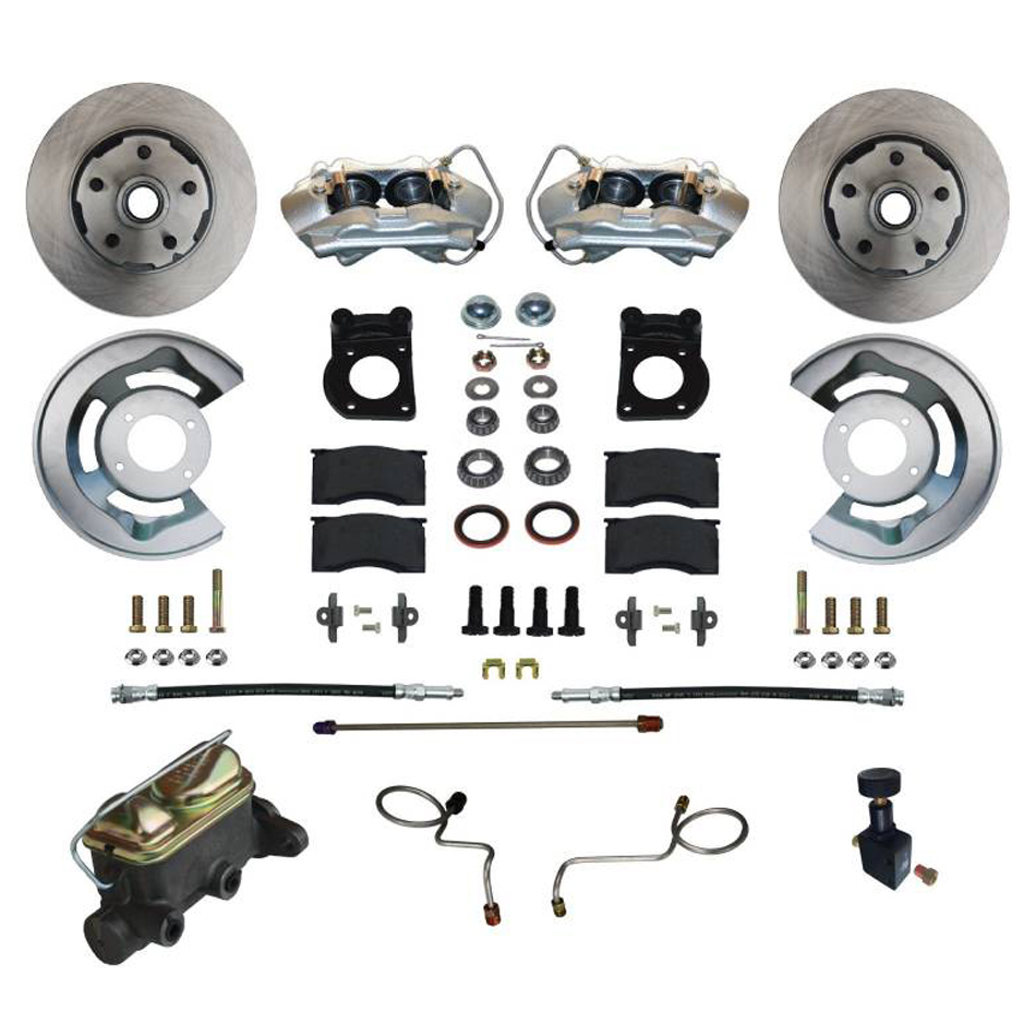 Leed Brakes FC0002-405 Brake System, Disc Conversion, Front, 4 Piston Caliper, 11.33 in Solid Rotors, Master Cylinder, Iron, Natural, Ford Mustang 1967-69, Kit