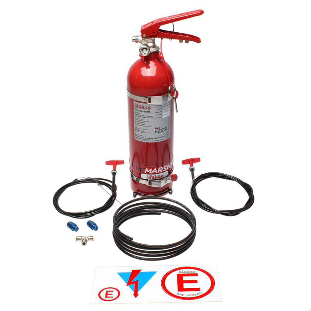 Lifeline USA 101-225-011 Fire Suppression System, Zero 2000, 2.25 ltr Bottle, Fittings / Pull Cable / Mount, Kit