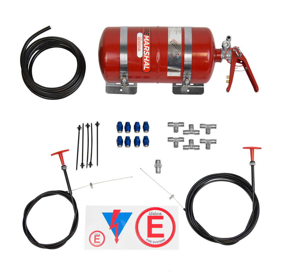 Lifeline USA 106-001-001 Fire Suppression System, Steel Fire Marshall, Zero 2000 Foam, 5 lb Bottle, Fittings / Hose / Mount / Pull Cable, Kit