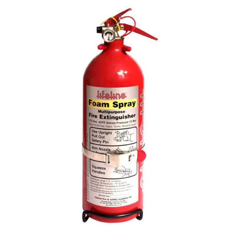 Lifeline USA 201-100-001 Fire Extinguisher, Lifeline AFFF Hand Held, Dry Chemical, Class AB, 1.0 L, Mounting Bracket, Steel, Red, Each