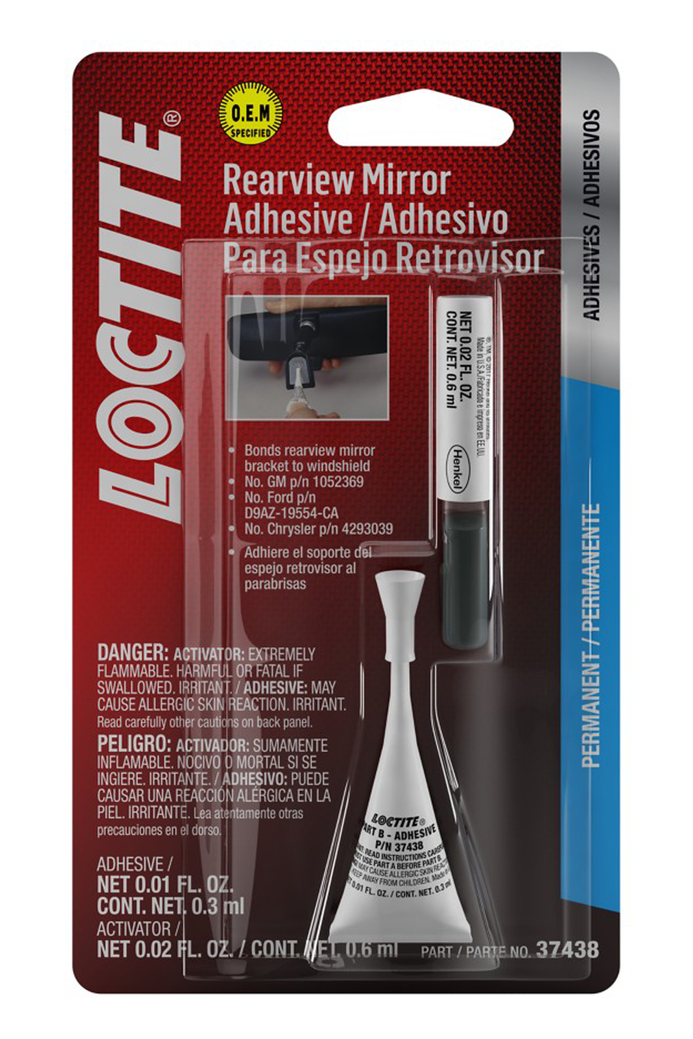 Loctite 487865 Adhesive, Rearview Mirror, 2 Part, 3 g Tube, Kit