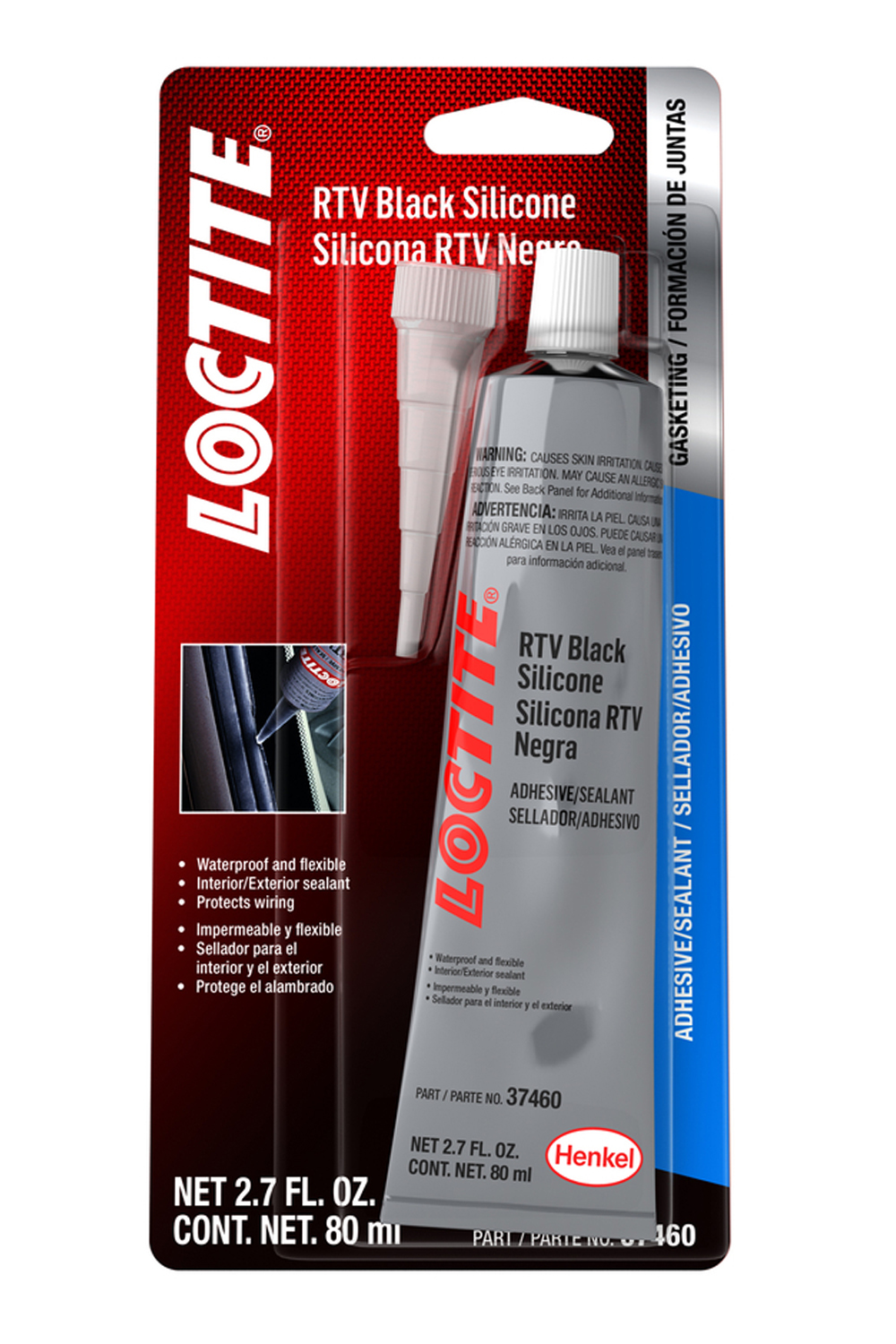 Loctite 491979 Sealant, Black RTV, Silicone, 80 ml Tube, Each