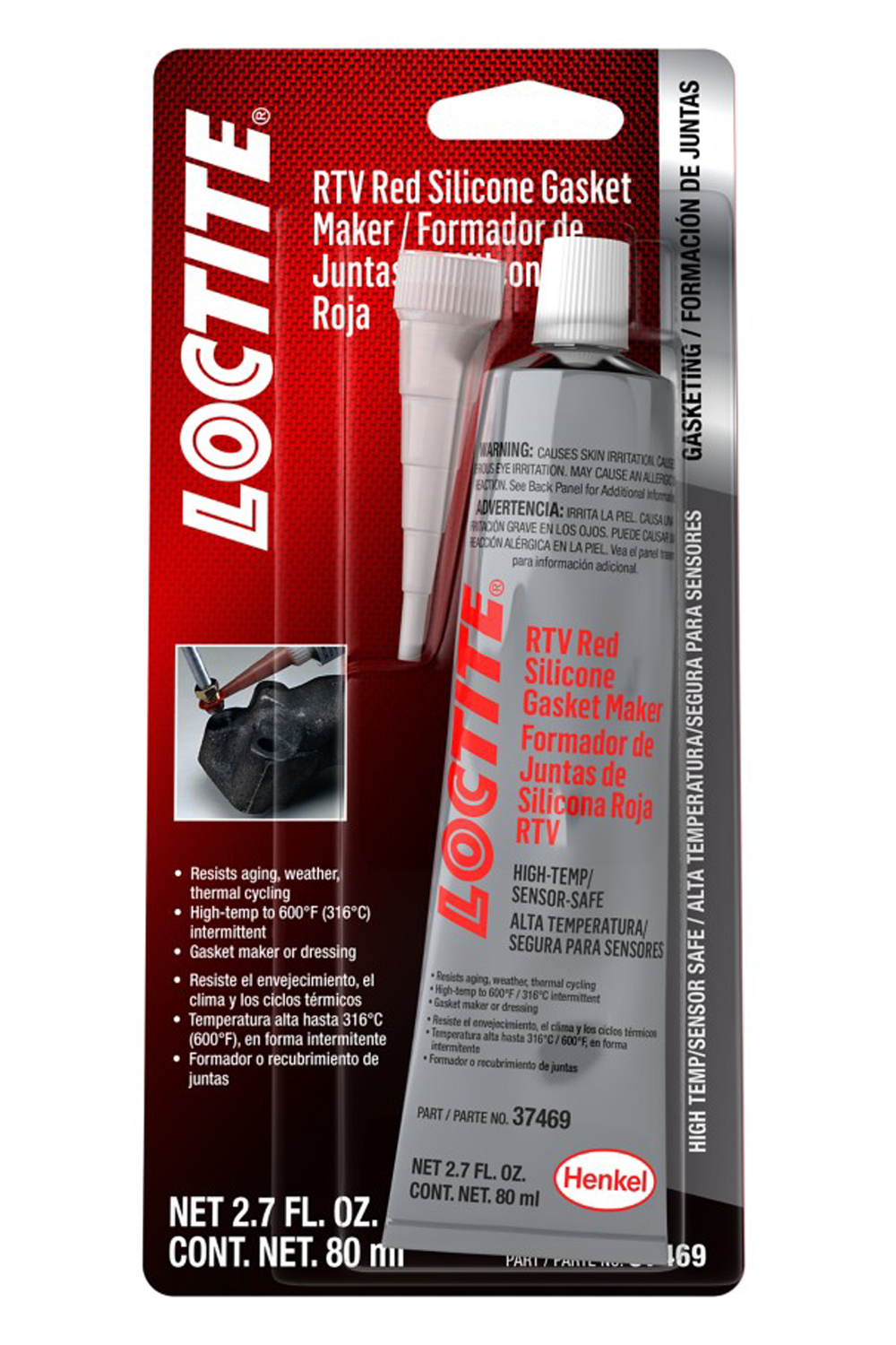 Loctite 492001 Sealant, Sensor Safe Red RTV, Silicone, 80 ml Tube, Each