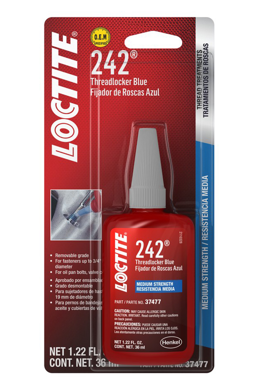 Loctite 492140 Thread Locker, Blue 242, 36 ml Bottle, Each