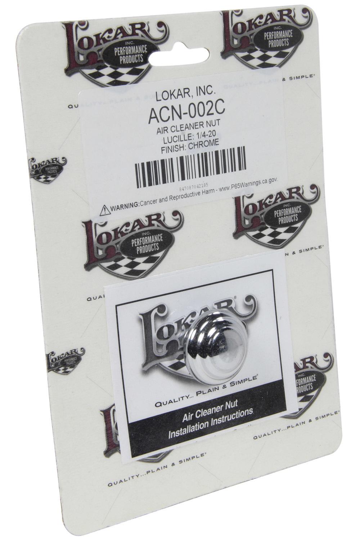 Lokar ACN-002C Air Cleaner Nut, Lucille Style, 1/4-20 in Threads, O-Ring, Aluminum, Chrome, Each