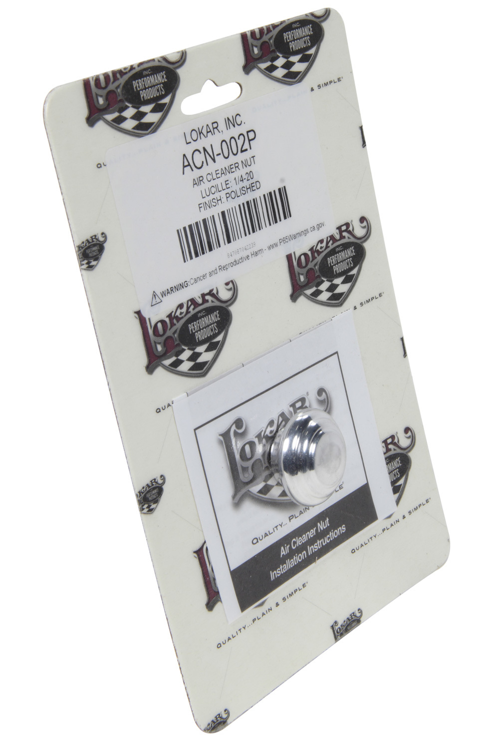 Lokar ACN-002P Air Cleaner Nut, Lucille Style, 1/4-20 in Threads, O-Ring, Aluminum, Polished, Each