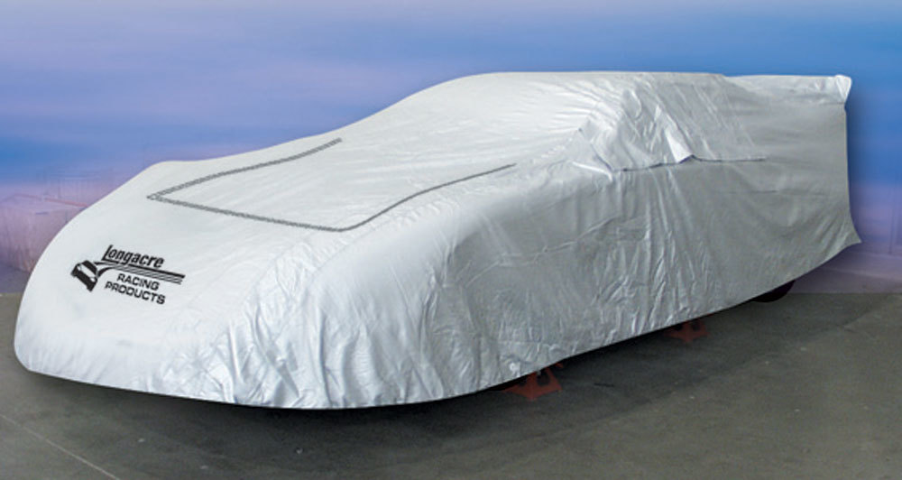 Longacre 52-11152 Car Cover, Moisture Resistant, Soft Liner, Zippered Window / Hood, Heat Reflective, Cloth, Silver, Dirt Late Model, Each